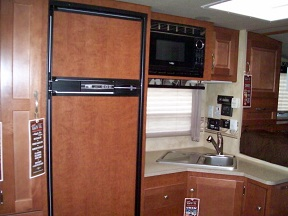 Refrigerator, microwave, and kitchen sink