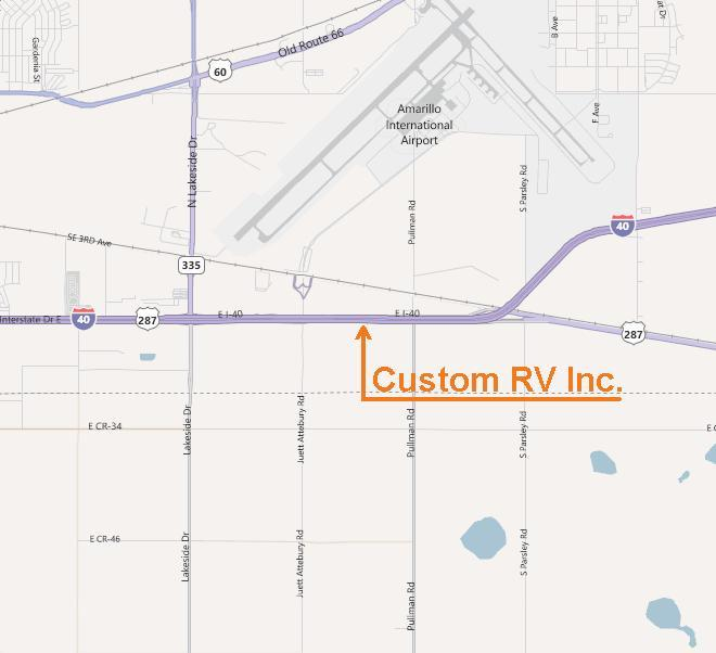 Amarillo map pinpointing Custom RV between Lakeside Dr. and Pullman Rd.